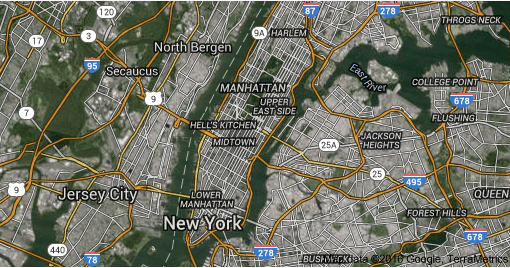 Satellite Map of New York
