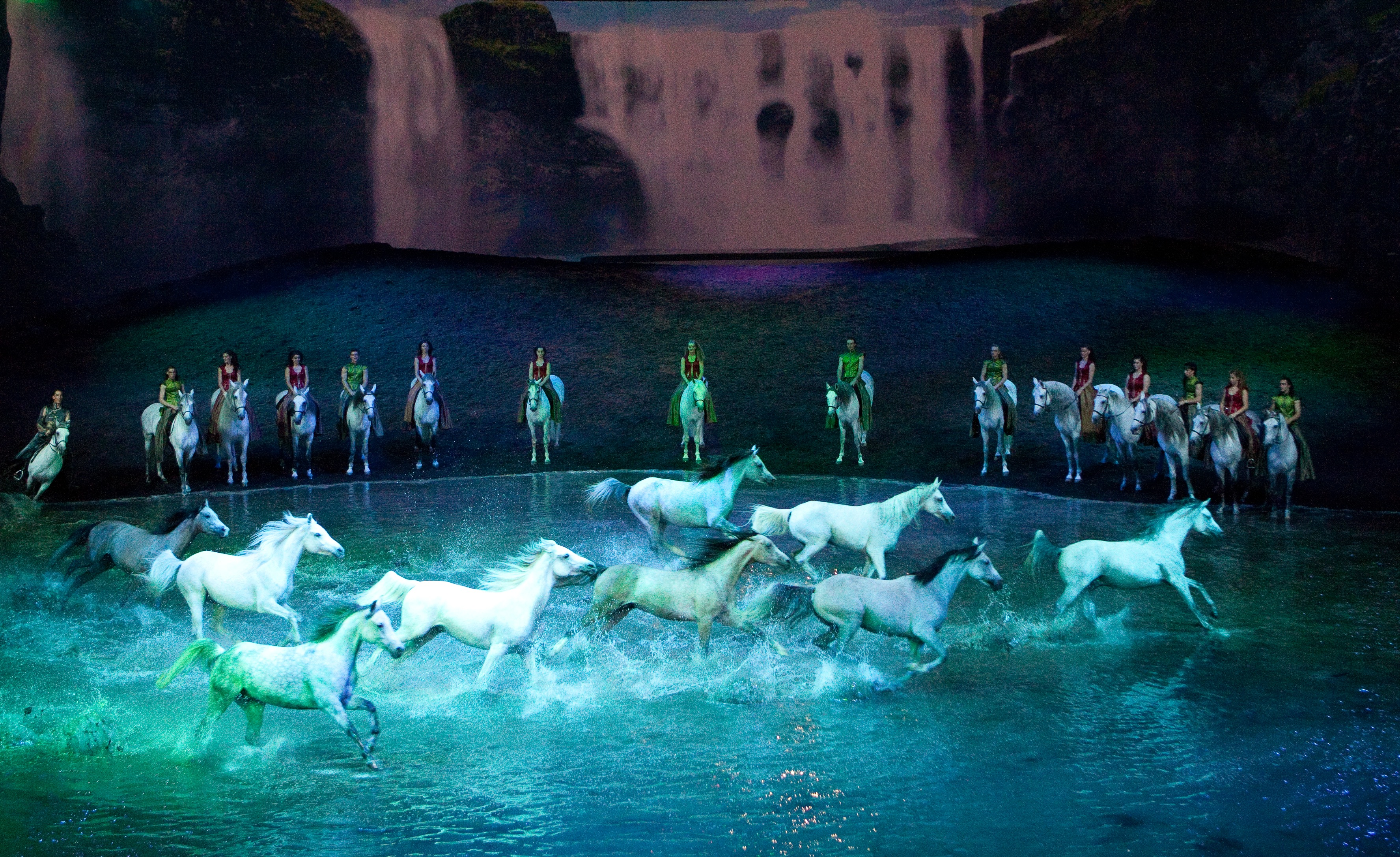 White horses galloping through a pool in Cavalia's Odysseo Show