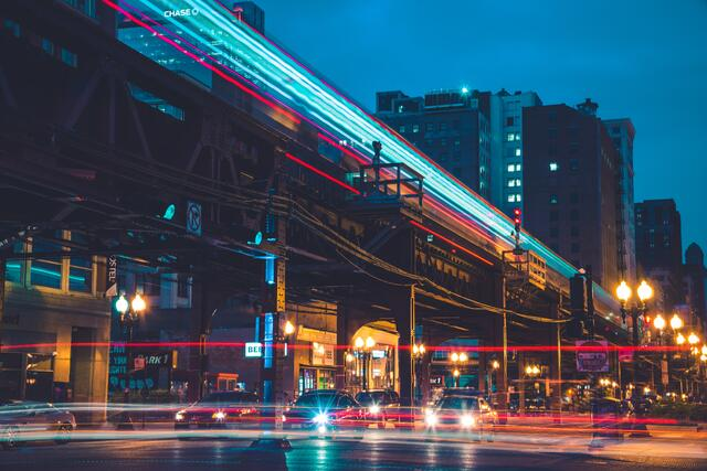 Chicago L and street time lapse at night